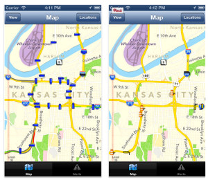 Mobile App - The SCOUT app provides access to information for Kansas City metro area roadways. You can find it at Apple's App Store or at Google Play.
