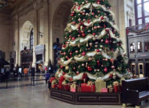 Union Station is beautifully decorated each year for Christmas.